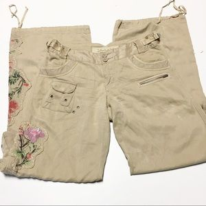Da Nang Silk Blend Embroidered Cargo Pants sz S